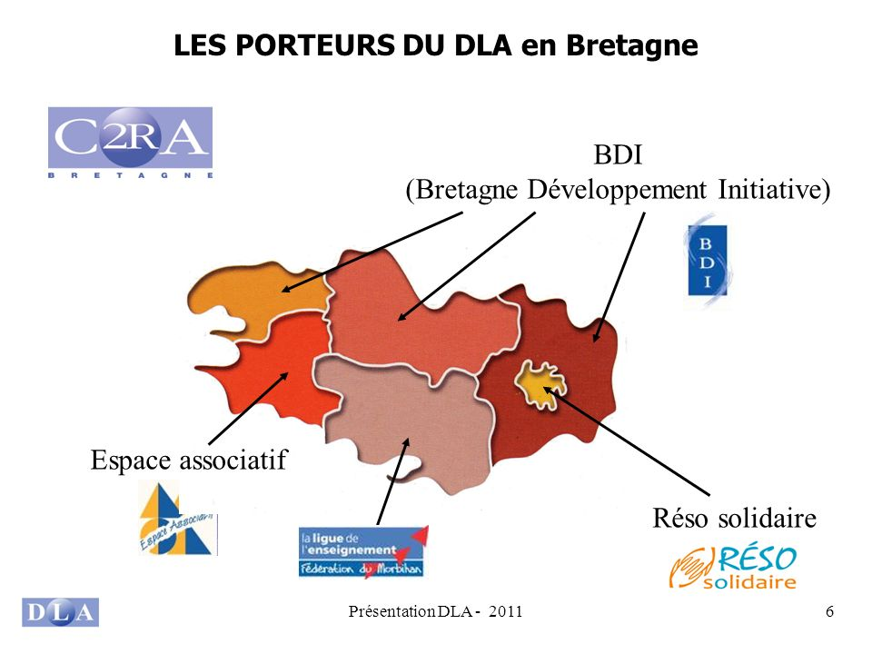 Présentation DLA - 20116 LES PORTEURS DU DLA en Bretagne Réso solidaire BDI (Bretagne Développement Initiative) Espace associatif