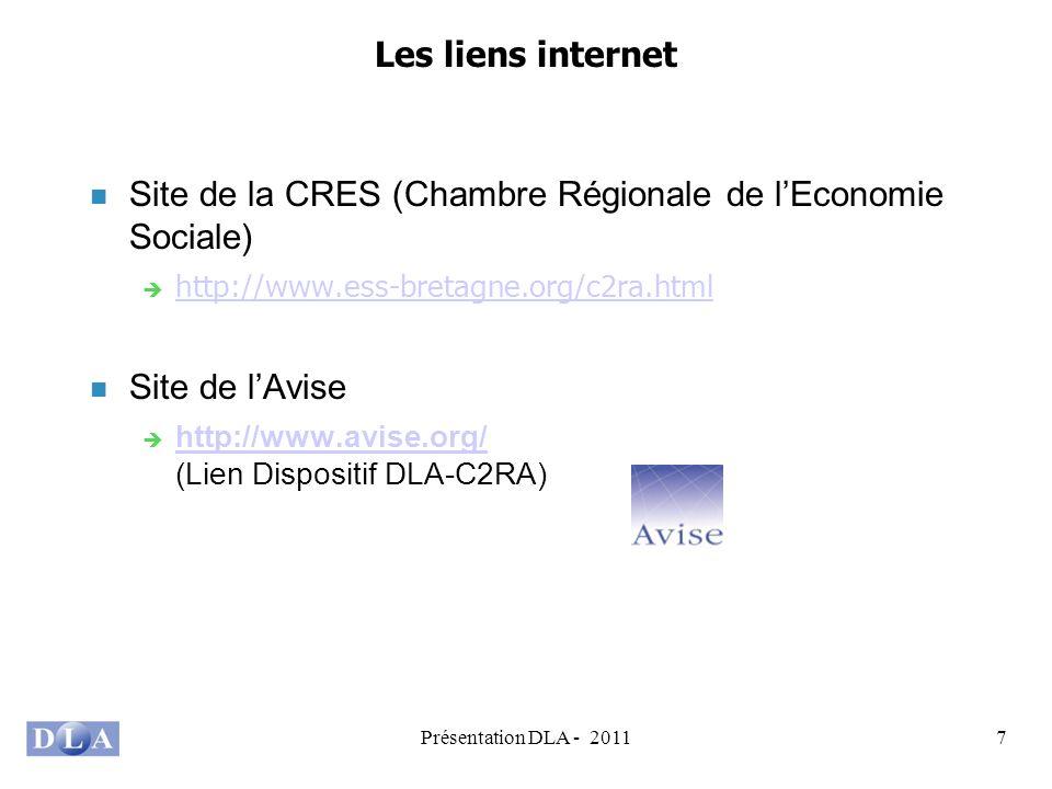 Présentation DLA - 20117 Les liens internet Site de la CRES (Chambre Régionale de lEconomie Sociale) http://www.ess-bretagne.org/c2ra.html Site de lAvise http://www.avise.org/ (Lien Dispositif DLA-C2RA) http://www.avise.org/