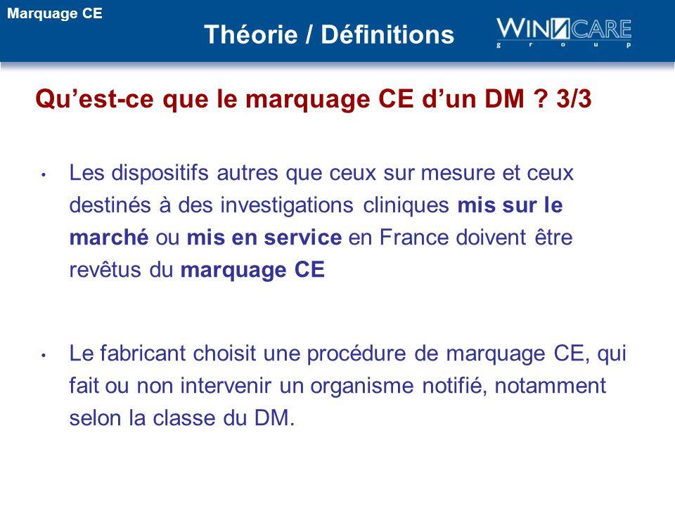 Les dispositifs autres que ceux sur mesure et ceux destinés à des investigations cliniques mis sur le marché ou mis en service en France doivent être