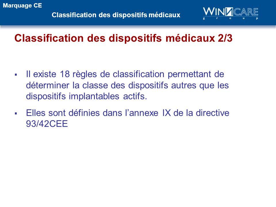 Il existe 18 règles de classification permettant de déterminer la classe des dispositifs autres que les dispositifs implantables actifs. Elles sont dé