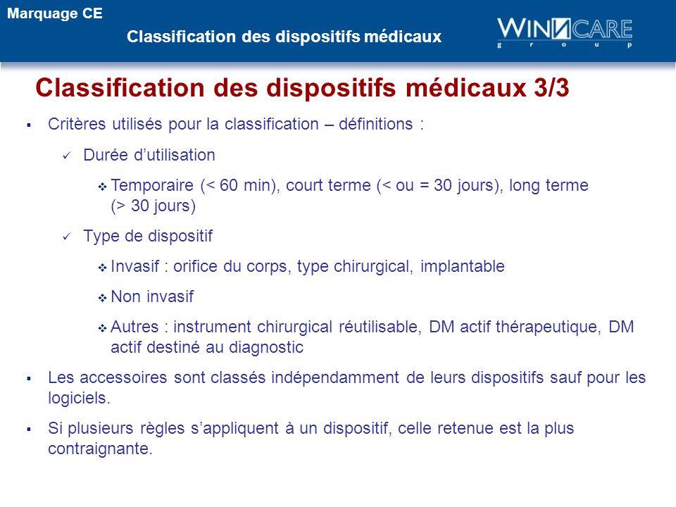 Critères utilisés pour la classification – définitions : Durée dutilisation Temporaire ( 30 jours) Type de dispositif Invasif : orifice du corps, type