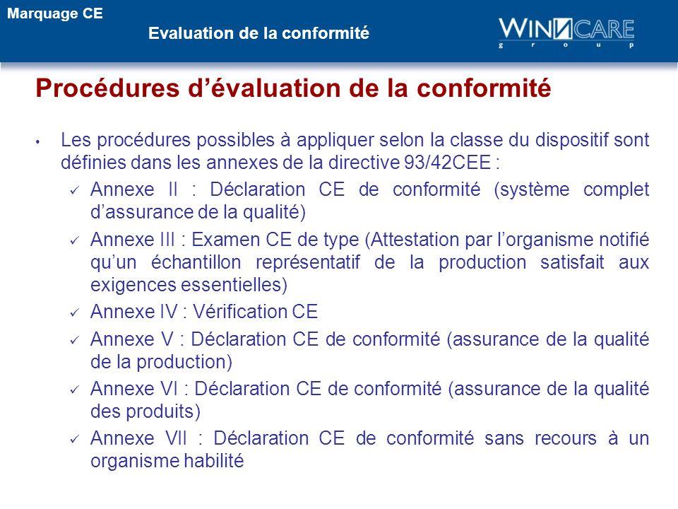 Procédures dévaluation de la conformité Les procédures possibles à appliquer selon la classe du dispositif sont définies dans les annexes de la direct