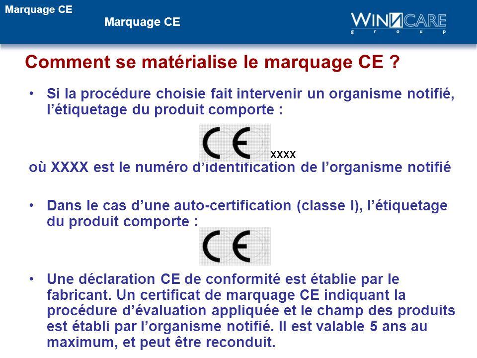 Comment se matérialise le marquage CE ? Si la procédure choisie fait intervenir un organisme notifié, létiquetage du produit comporte : où XXXX est le
