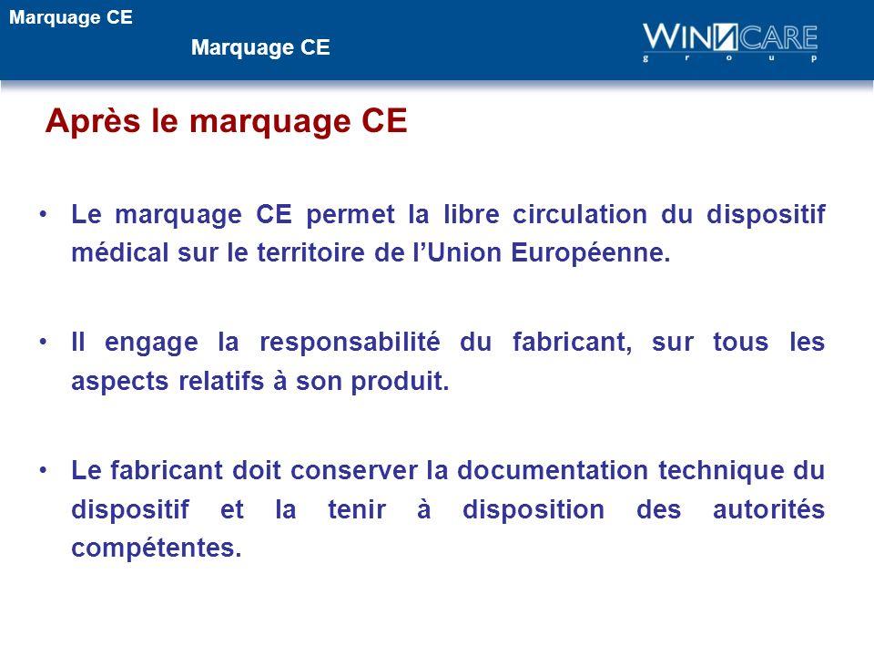Après le marquage CE Le marquage CE permet la libre circulation du dispositif médical sur le territoire de lUnion Européenne. Il engage la responsabil