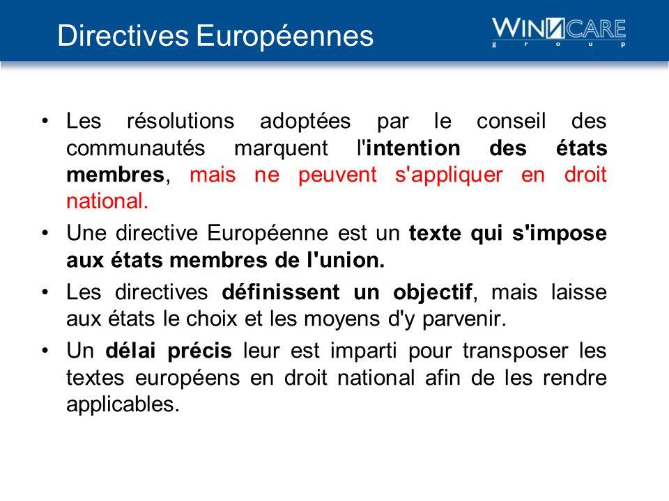 Directives Européennes Les résolutions adoptées par le conseil des communautés marquent l'intention des états membres, mais ne peuvent s'appliquer en