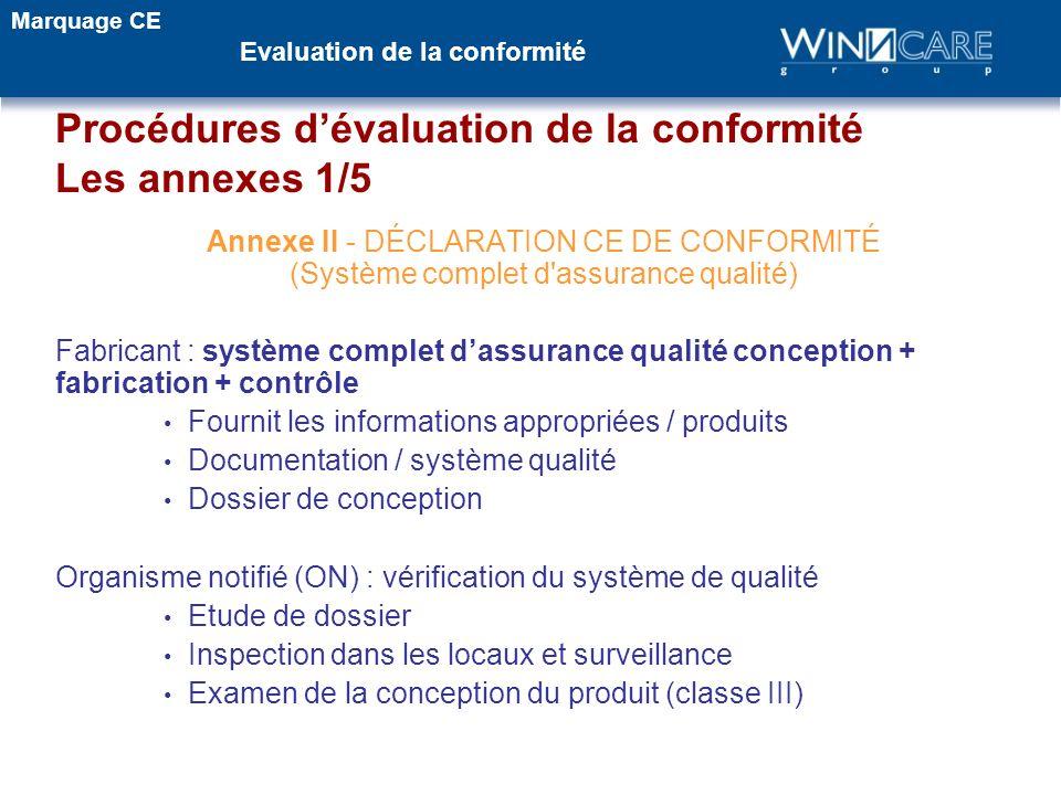 Annexe II - DÉCLARATION CE DE CONFORMITÉ (Système complet d'assurance qualité) Fabricant : système complet dassurance qualité conception + fabrication