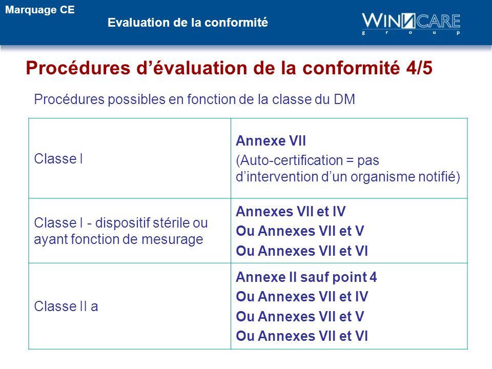Procédures dévaluation de la conformité 4/5 Classe I Annexe VII (Auto-certification = pas dintervention dun organisme notifié) Classe I - dispositif s