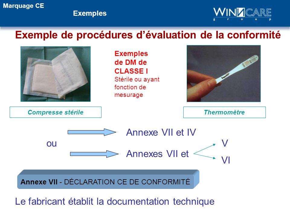 Exemples de DM de CLASSE I Stérile ou ayant fonction de mesurage Annexes VII et Annexe VII et IV Le fabricant établit la documentation technique Therm