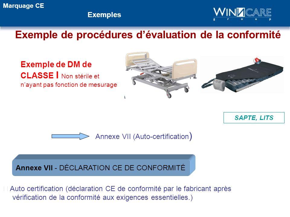 Exemple de procédures dévaluation de la conformité Annexe VII (Auto-certification ) Auto certification (déclaration CE de conformité par le fabricant