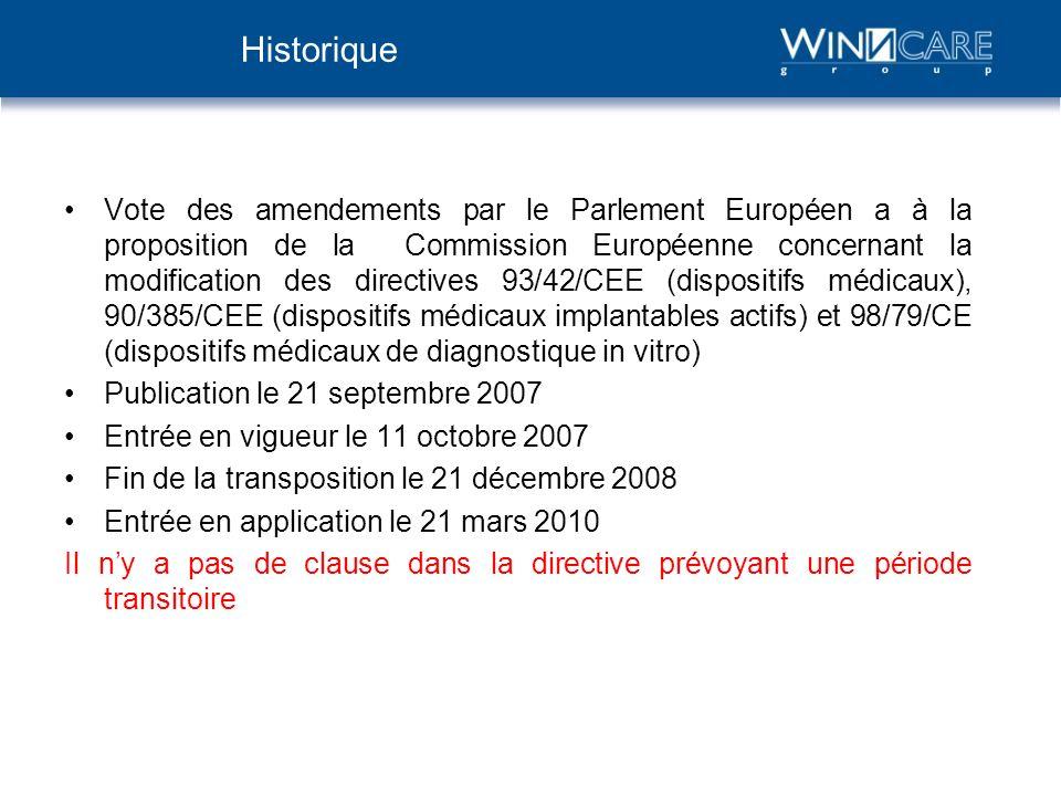 Vote des amendements par le Parlement Européen a à la proposition de la Commission Européenne concernant la modification des directives 93/42/CEE (dis