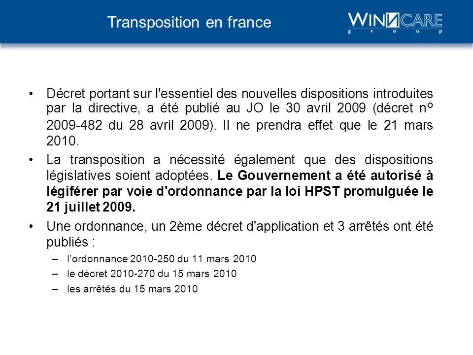 Décret portant sur l'essentiel des nouvelles dispositions introduites par la directive, a été publié au JO le 30 avril 2009 (décret n° 2009-482 du 28