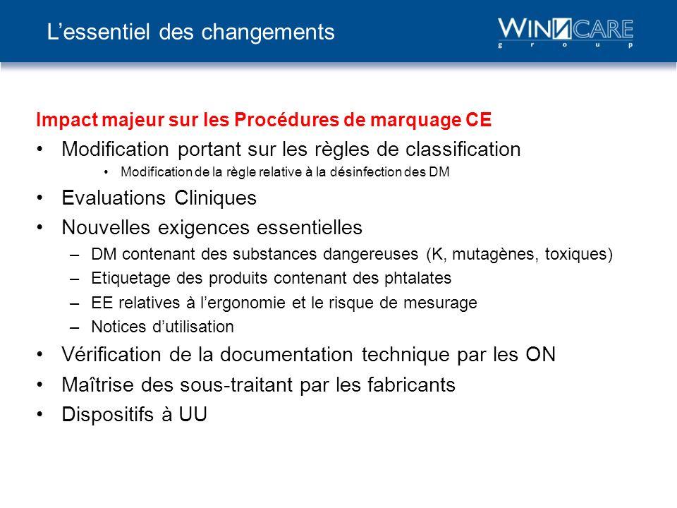 Impact majeur sur les Procédures de marquage CE Modification portant sur les règles de classification Modification de la règle relative à la désinfect