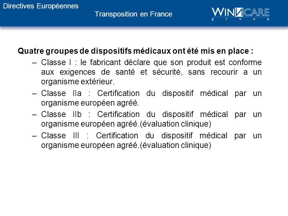 Transposition en France Quatre groupes de dispositifs médicaux ont été mis en place : –Classe I : le fabricant déclare que son produit est conforme au