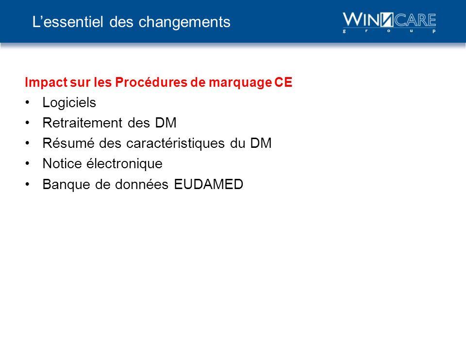 Impact sur les Procédures de marquage CE Logiciels Retraitement des DM Résumé des caractéristiques du DM Notice électronique Banque de données EUDAMED