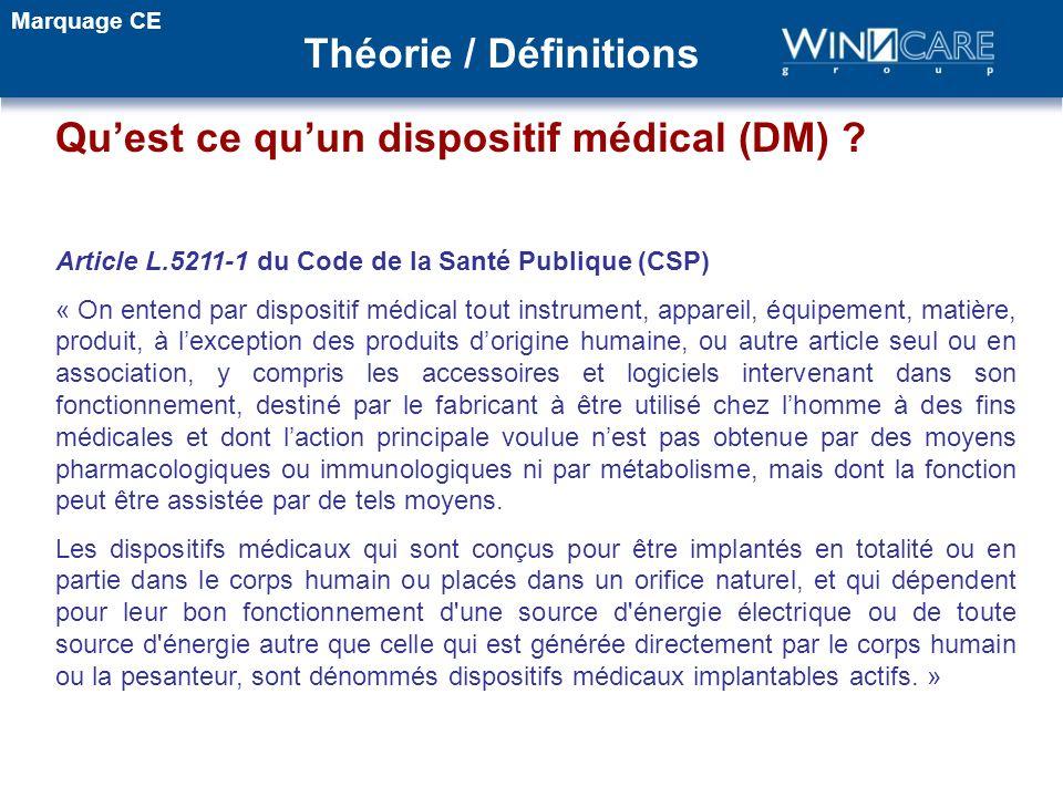 Article L.5211-1 du Code de la Santé Publique (CSP) « On entend par dispositif médical tout instrument, appareil, équipement, matière, produit, à lexc