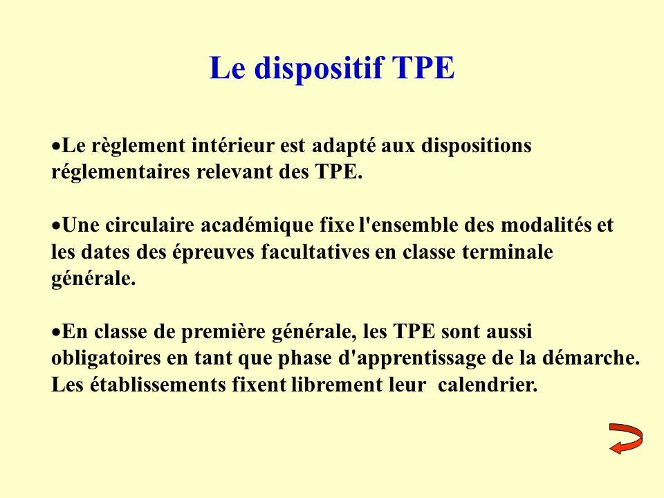 Le dispositif TPE Le règlement intérieur est adapté aux dispositions réglementaires relevant des TPE. Une circulaire académique fixe l'ensemble des mo