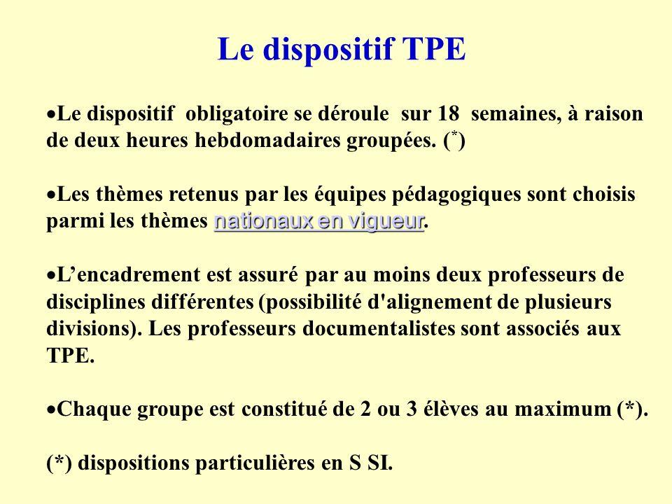Le dispositif TPE Le dispositif obligatoire se déroule sur 18 semaines, à raison de deux heures hebdomadaires groupées. ( * ) nationaux en vigueur nat