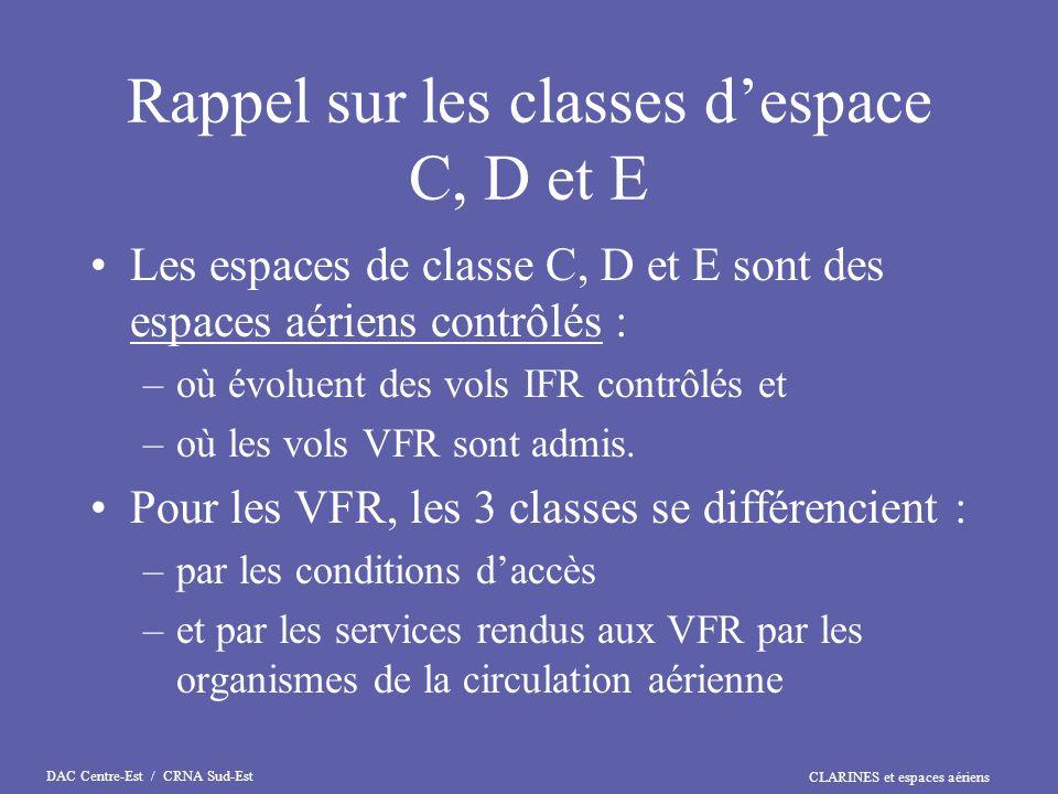 CLARINES et espaces aériens DAC Centre-Est / CRNA Sud-Est Rappel sur les classes despace C, D et E Les espaces de classe C, D et E sont des espaces aé