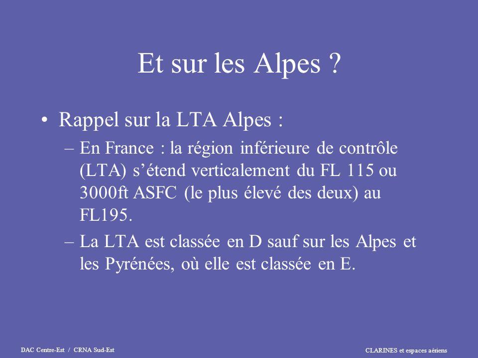 CLARINES et espaces aériens DAC Centre-Est / CRNA Sud-Est Et sur les Alpes ? Rappel sur la LTA Alpes : –En France : la région inférieure de contrôle (