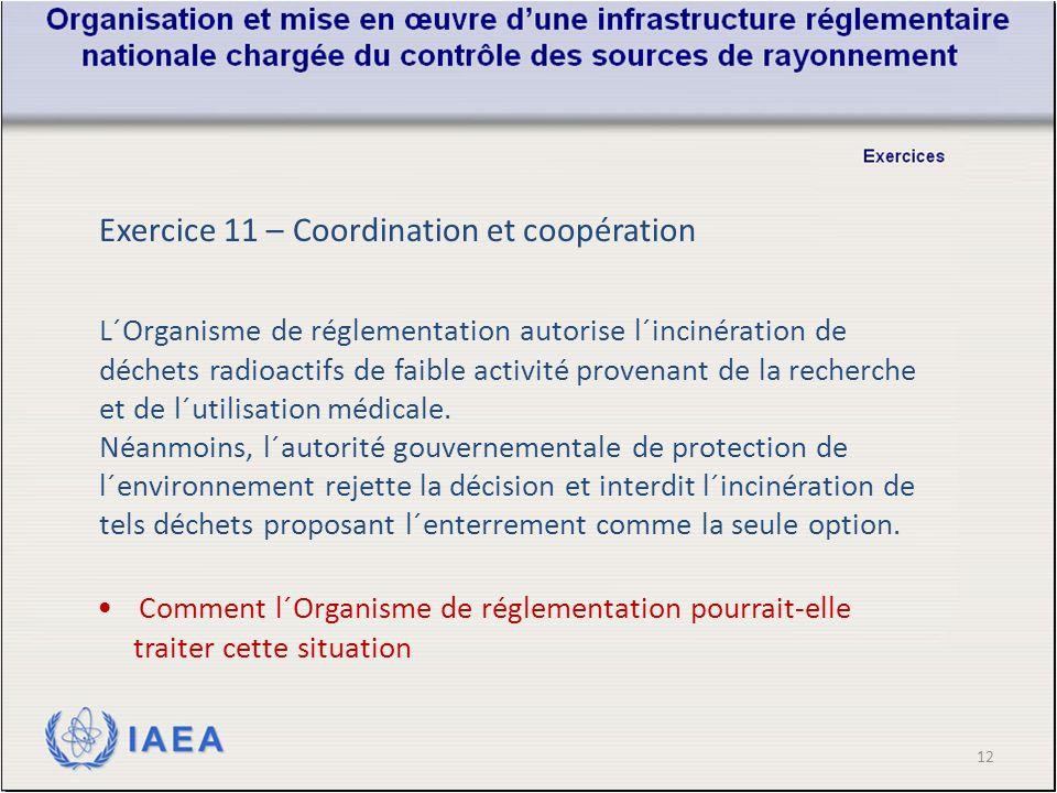 12 Exercice 11 – Coordination et coopération L´Organisme de réglementation autorise l´incinération de déchets radioactifs de faible activité provenant de la recherche et de l´utilisation médicale.