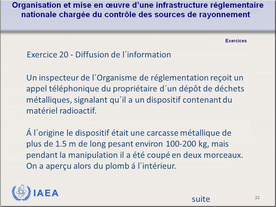 22 Exercice 20 - Diffusion de l´information Un inspecteur de l´Organisme de réglementation reçoit un appel téléphonique du propriétaire d´un dépôt de déchets métalliques, signalant qu´il a un dispositif contenant du matériel radioactif.