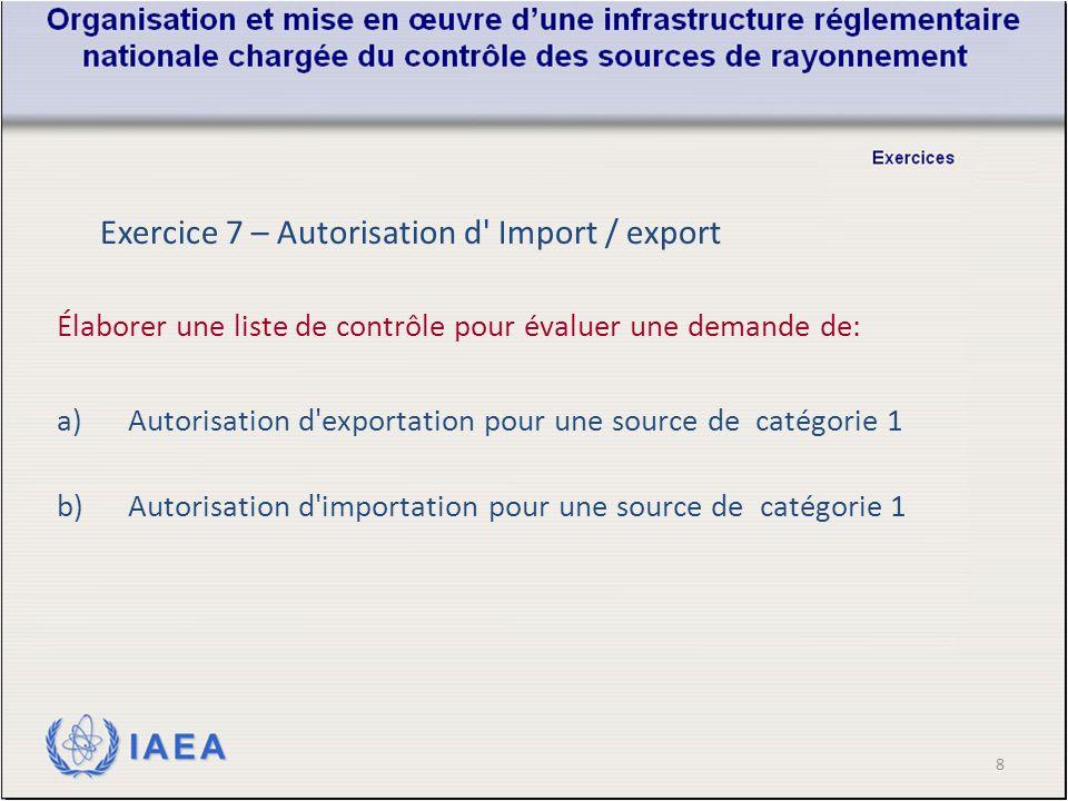 8 Élaborer une liste de contrôle pour évaluer une demande de: a)Autorisation d exportation pour une source de catégorie 1 b)Autorisation d importation pour une source de catégorie 1 Exercice 7 – Autorisation d Import / export