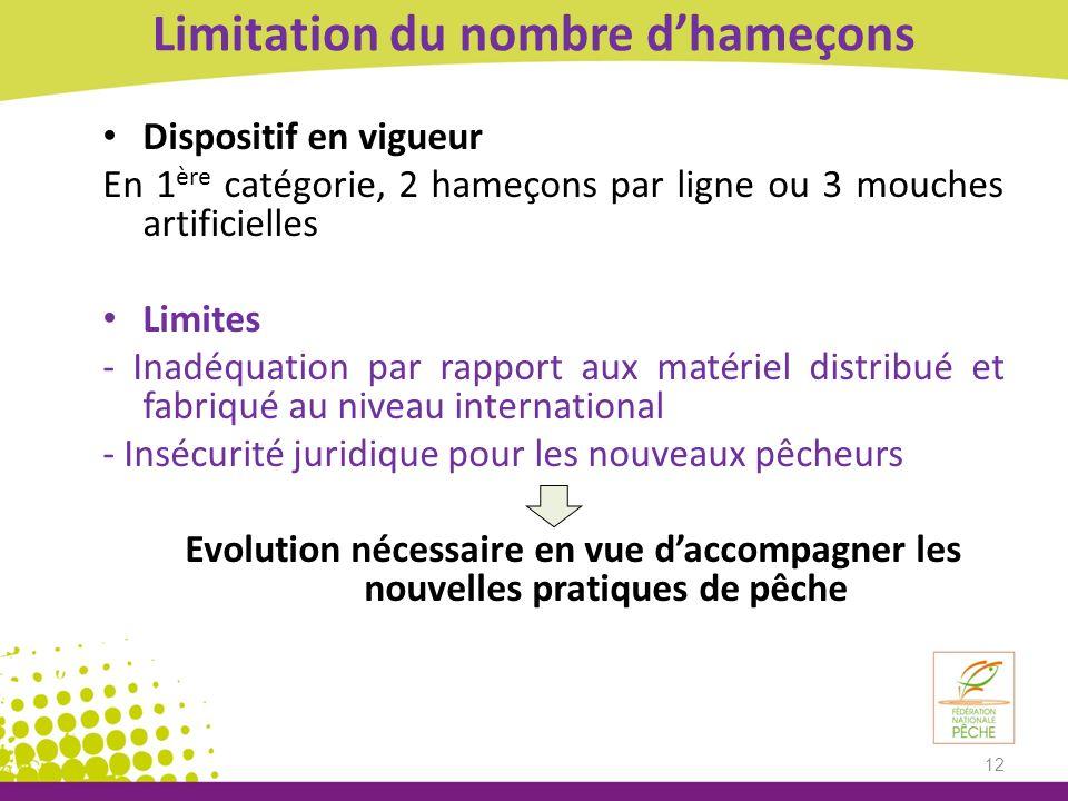 Limitation du nombre dhameçons Dispositif en vigueur En 1 ère catégorie, 2 hameçons par ligne ou 3 mouches artificielles Limites - Inadéquation par ra