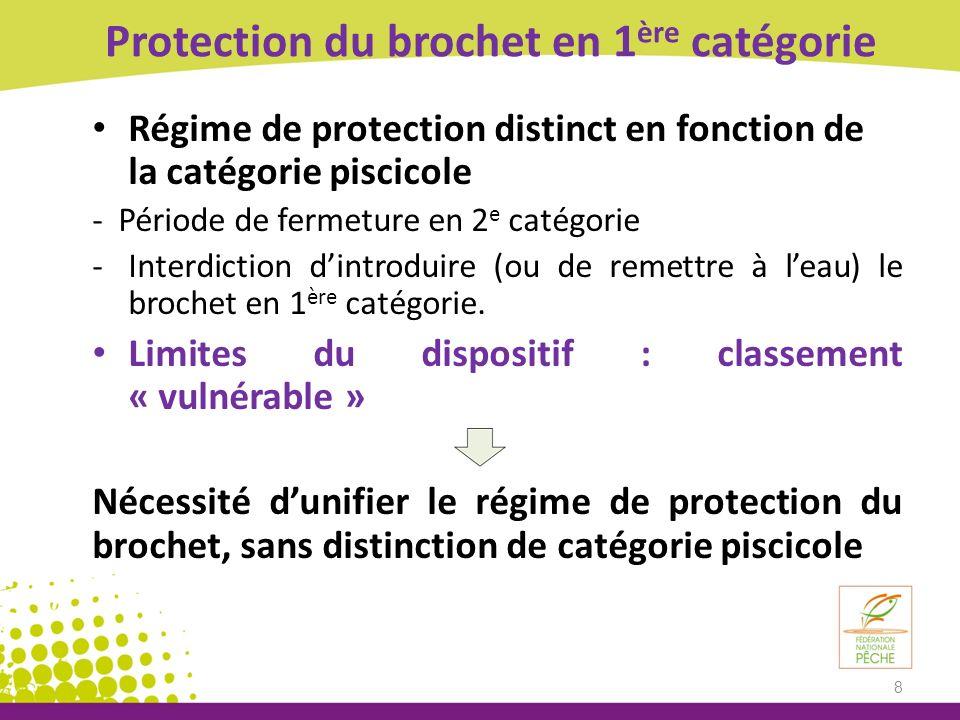 Protection du brochet en 1 ère catégorie Régime de protection distinct en fonction de la catégorie piscicole - Période de fermeture en 2 e catégorie -Interdiction dintroduire (ou de remettre à leau) le brochet en 1 ère catégorie.