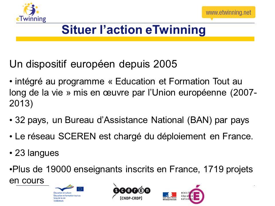 Situer laction eTwinning Les objectifs : -la construction de partenariats pédagogiques -la mise en réseau des établissements européens -encourager lapprentissage des langues vivantes -le développement des compétences professionnelles en TICE