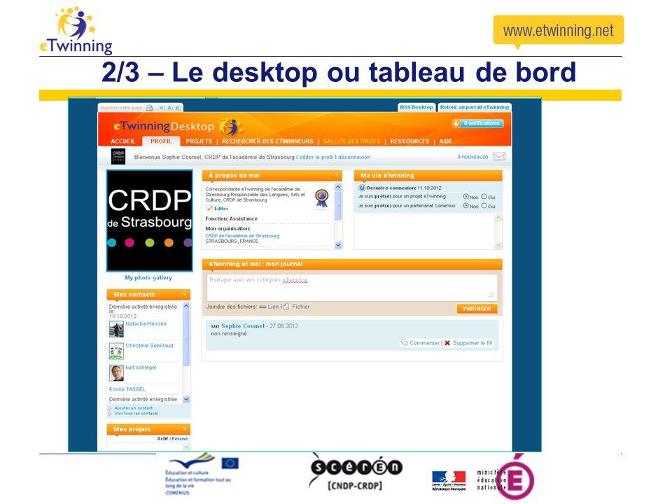 2/3 – Le desktop ou tableau de bord