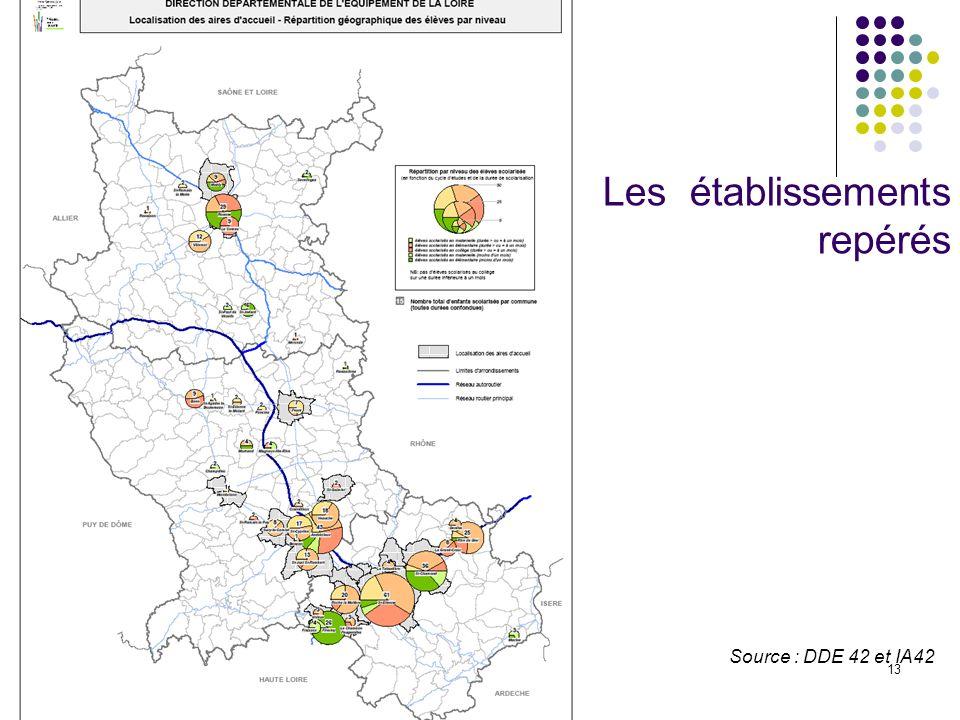 13 Source : DDE 42 et IA42 Les établissements repérés