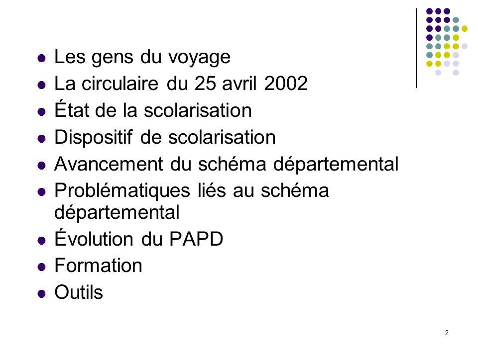 2 Les gens du voyage La circulaire du 25 avril 2002 État de la scolarisation Dispositif de scolarisation Avancement du schéma départemental Problémati