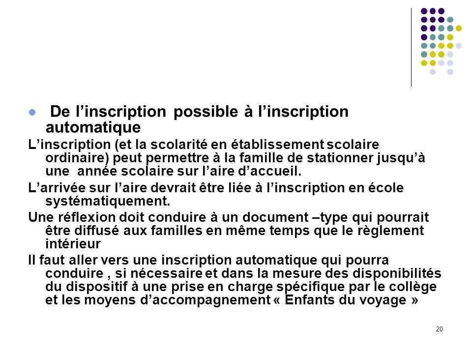 20 De linscription possible à linscription automatique Linscription (et la scolarité en établissement scolaire ordinaire) peut permettre à la famille