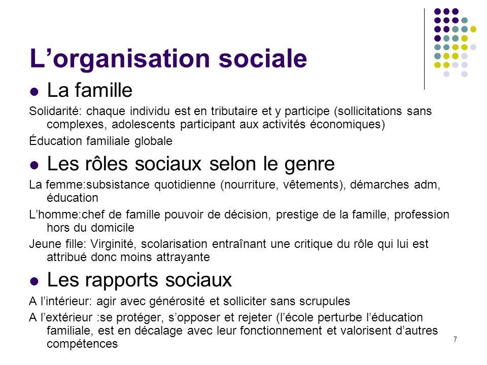 7 Lorganisation sociale La famille Solidarité: chaque individu est en tributaire et y participe (sollicitations sans complexes, adolescents participan