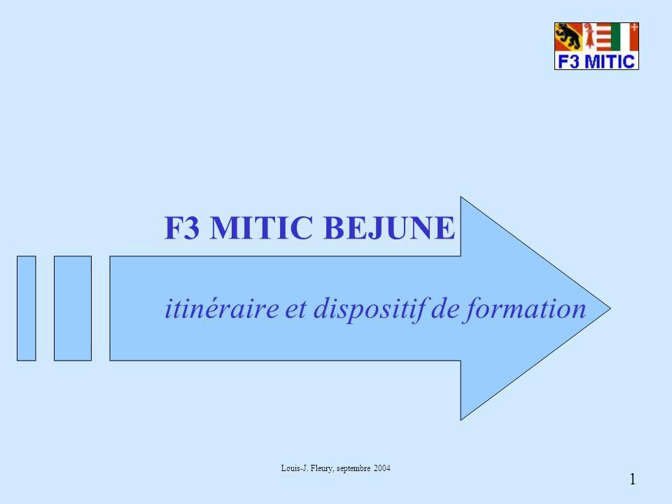 1 Louis-J. Fleury, septembre 2004 F3 MITIC BEJUNE itinéraire et dispositif de formation
