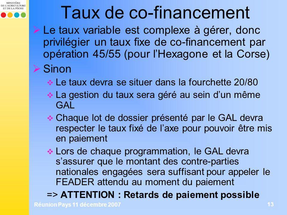 Réunion Pays 11 décembre 2007 13 Taux de co-financement Le taux variable est complexe à gérer, donc privilégier un taux fixe de co-financement par opé
