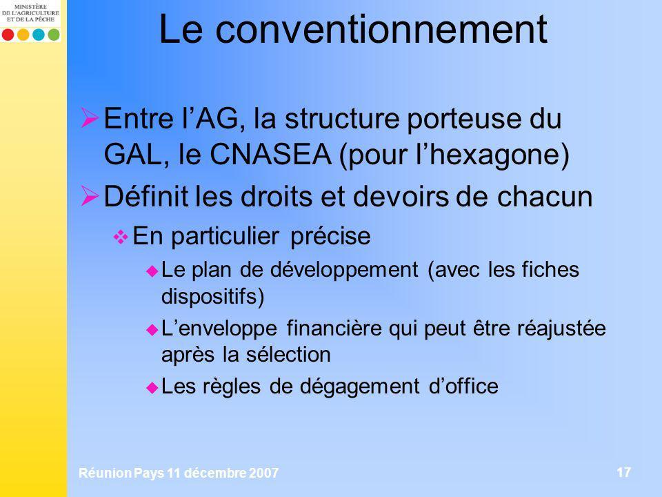 Réunion Pays 11 décembre 2007 17 Le conventionnement Entre lAG, la structure porteuse du GAL, le CNASEA (pour lhexagone) Définit les droits et devoirs