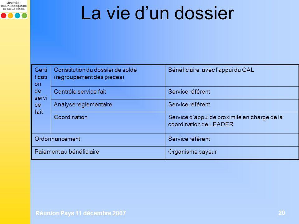 Réunion Pays 11 décembre 2007 20 La vie dun dossier Certi ficati on de servi ce fait Constitution du dossier de solde (regroupement des pièces) Bénéfi