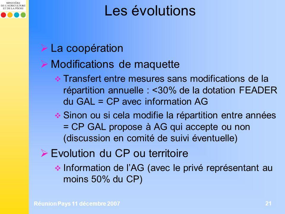 Réunion Pays 11 décembre 2007 21 Les évolutions La coopération Modifications de maquette Transfert entre mesures sans modifications de la répartition