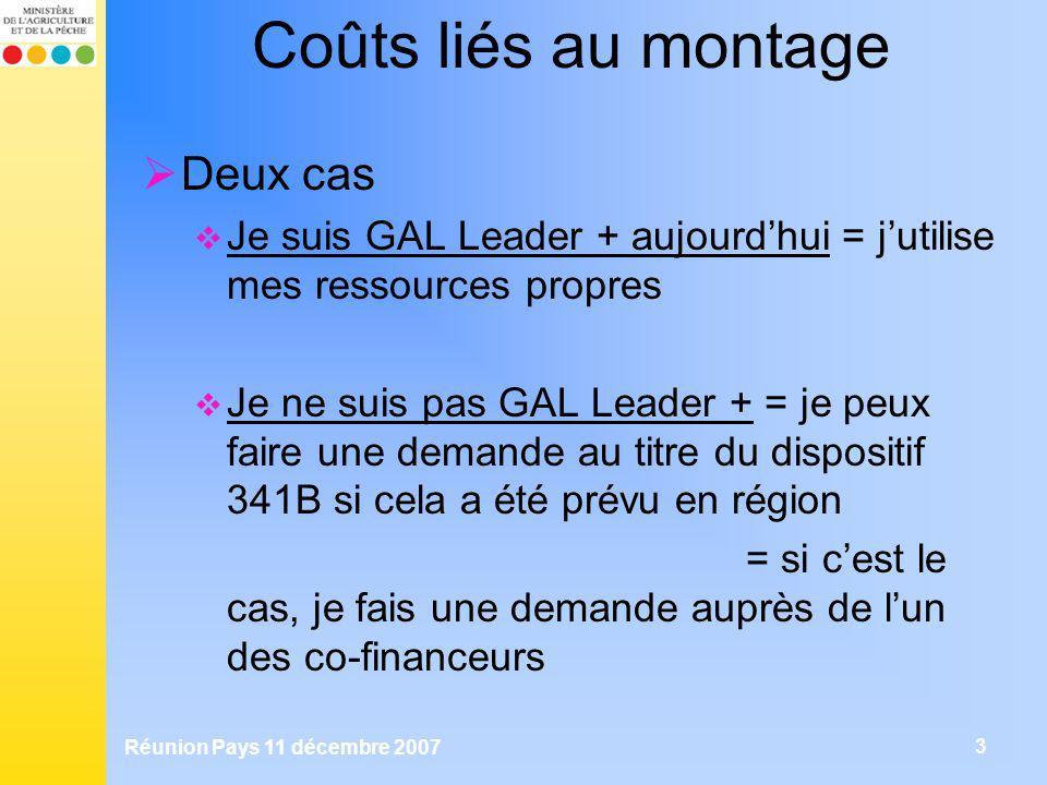 Réunion Pays 11 décembre 2007 3 Coûts liés au montage Deux cas Je suis GAL Leader + aujourdhui = jutilise mes ressources propres Je ne suis pas GAL Le
