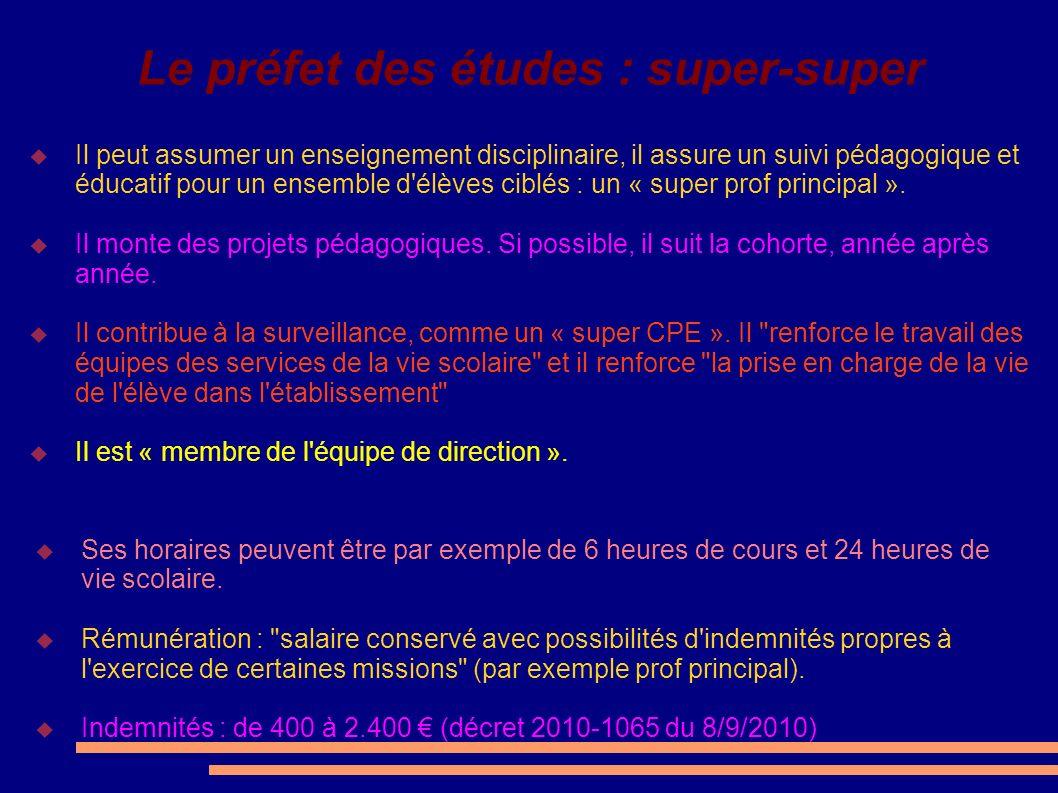Le préfet des études : super-super Il peut assumer un enseignement disciplinaire, il assure un suivi pédagogique et éducatif pour un ensemble d'élèves