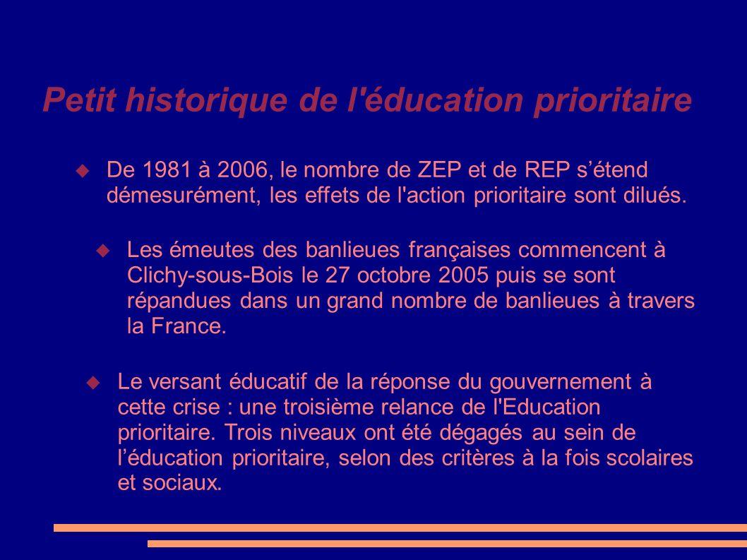 Petit historique de l'éducation prioritaire Les émeutes des banlieues françaises commencent à Clichy-sous-Bois le 27 octobre 2005 puis se sont répandu