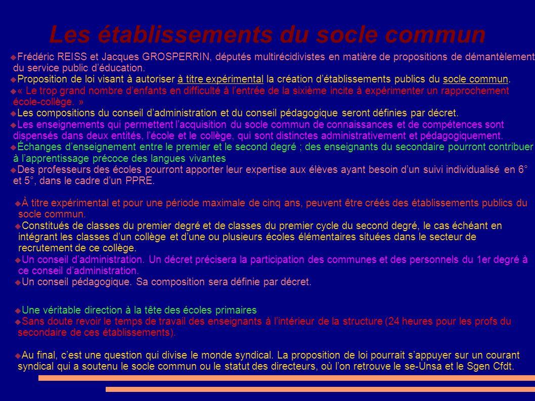 Les établissements du socle commun Frédéric REISS et Jacques GROSPERRIN, députés multirécidivistes en matière de propositions de démantèlement du serv