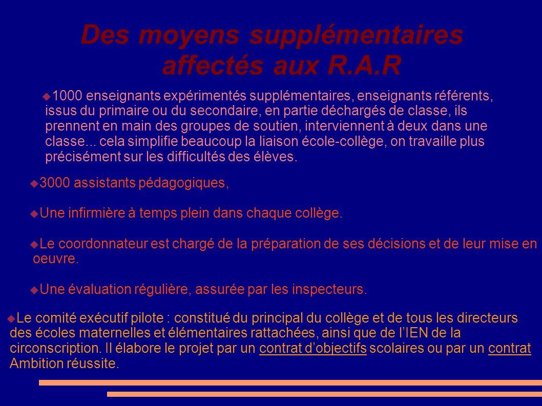 Des moyens supplémentaires affectés aux R.A.R 1000 enseignants expérimentés supplémentaires, enseignants référents, issus du primaire ou du secondaire