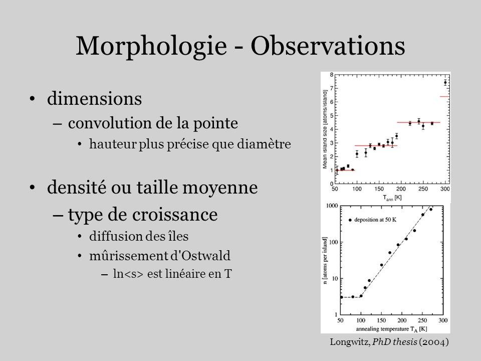 Morphologie - Observations dimensions – convolution de la pointe hauteur plus précise que diamètre densité ou taille moyenne – type de croissance diff