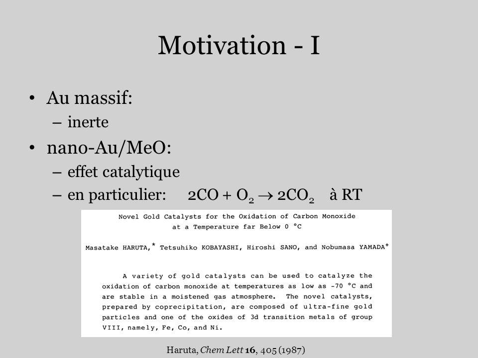 Motivation - I Au massif: – inerte nano-Au/MeO: – effet catalytique – en particulier: 2CO + O 2 2CO 2 à RT Haruta, Chem Lett 16, 405 (1987)