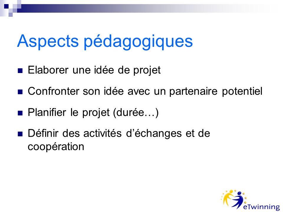 Aspects pédagogiques Elaborer une idée de projet Confronter son idée avec un partenaire potentiel Planifier le projet (durée…) Définir des activités déchanges et de coopération