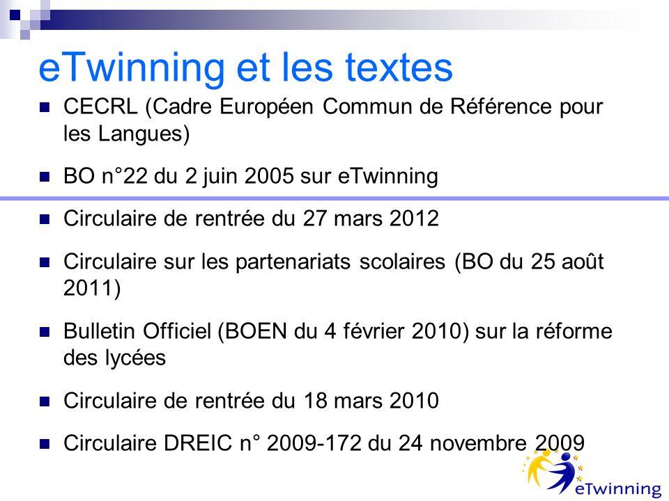 eTwinning et les textes CECRL (Cadre Européen Commun de Référence pour les Langues) BO n°22 du 2 juin 2005 sur eTwinning Circulaire de rentrée du 27 mars 2012 Circulaire sur les partenariats scolaires (BO du 25 août 2011) Bulletin Officiel (BOEN du 4 février 2010) sur la réforme des lycées Circulaire de rentrée du 18 mars 2010 Circulaire DREIC n° 2009-172 du 24 novembre 2009