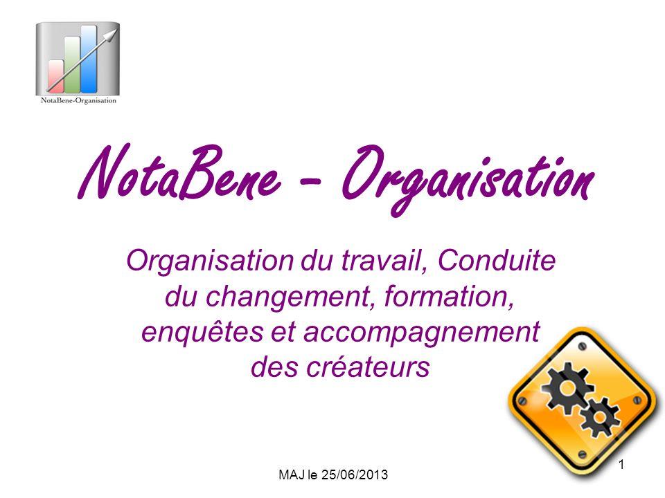 MAJ le 25/06/2013 1 NotaBene - Organisation Organisation du travail, Conduite du changement, formation, enquêtes et accompagnement des créateurs