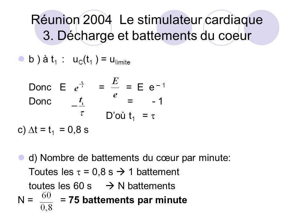 b ) à t 1 : u C (t 1 ) = u limite Donc E = = E e – 1 Donc = - 1 Doù t 1 = c) t = t 1 = 0,8 s d) Nombre de battements du cœur par minute: Toutes les = 0,8 s 1 battement toutes les 60 s N battements N = = 75 battements par minute Réunion 2004 Le stimulateur cardiaque 3.
